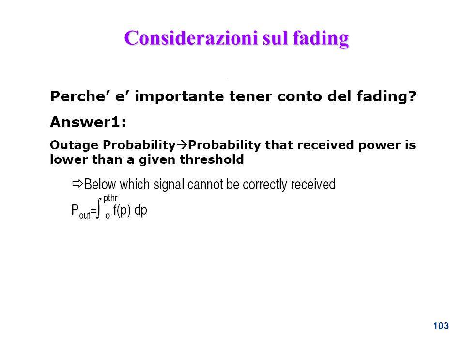 103 Considerazioni sul fading