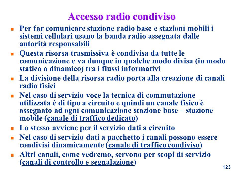 123 Accesso radio condiviso n Per far comunicare stazione radio base e stazioni mobili i sistemi cellulari usano la banda radio assegnata dalle autori
