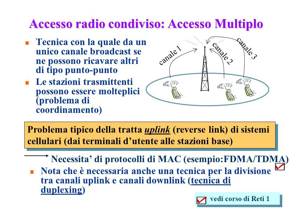 126 Accesso radio condiviso: Accesso Multiplo n Tecnica con la quale da un unico canale broadcast se ne possono ricavare altri di tipo punto-punto n L