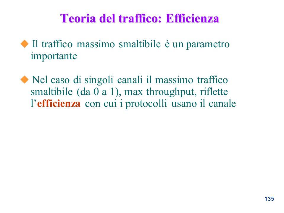 135 Teoria del traffico: Efficienza u Il traffico massimo smaltibile è un parametro importante u Nel caso di singoli canali il massimo traffico smalti