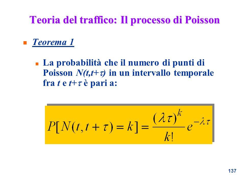137 n Teorema 1 La probabilità che il numero di punti di Poisson N(t,t+ ) in un intervallo temporale fra t e t+ è pari a: Teoria del traffico: Il proc