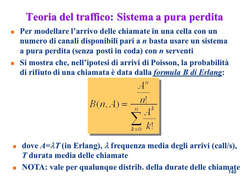 140 Teoria del traffico: Sistema a pura perdita n Per modellare larrivo delle chiamate in una cella con un numero di canali disponibili pari a n basta