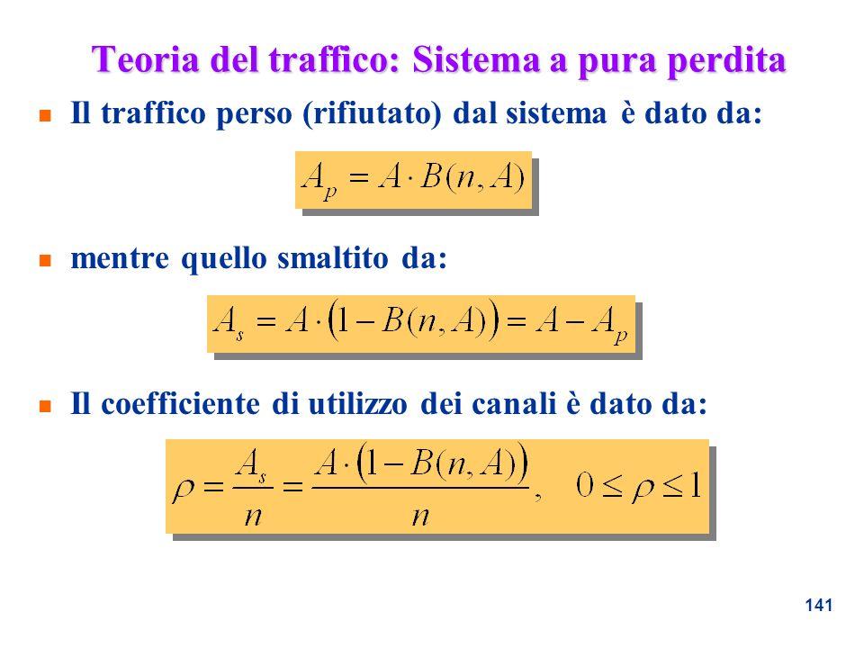 141 Teoria del traffico: Sistema a pura perdita n Il traffico perso (rifiutato) dal sistema è dato da: n mentre quello smaltito da: n Il coefficiente