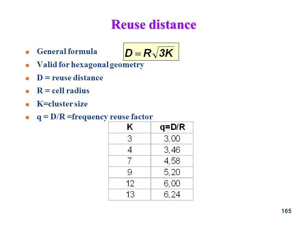 165 Reuse distance n General formula n Valid for hexagonal geometry n D = reuse distance n R = cell radius n K=cluster size n q = D/R =frequency reuse