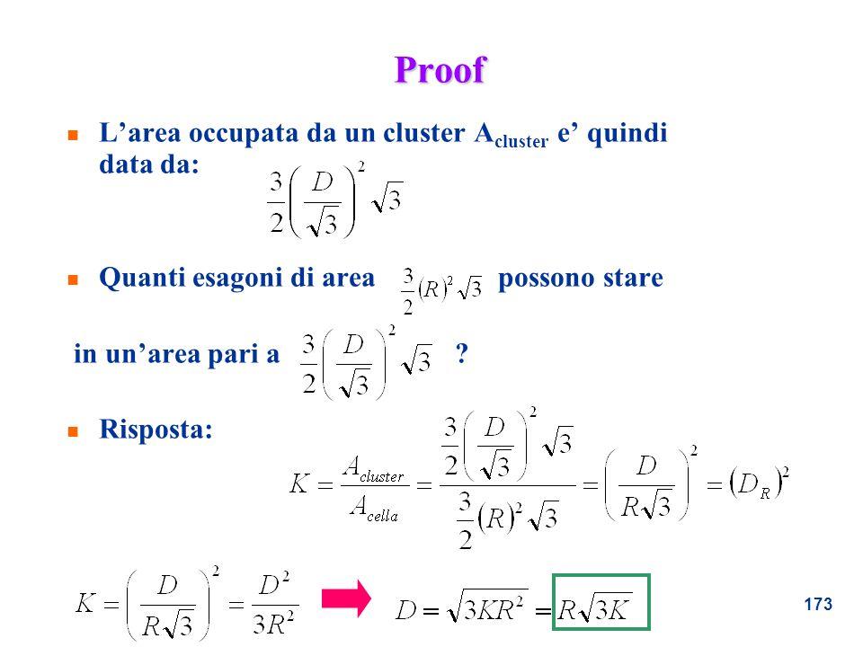 173 Proof n Larea occupata da un cluster A cluster e quindi data da: n Quanti esagoni di area possono stare in unarea pari a ? n Risposta: