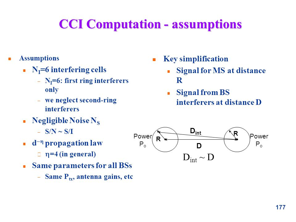 177 CCI Computation - assumptions n Assumptions n N I =6 interfering cells – N I =6: first ring interferers only – we neglect second-ring interferers