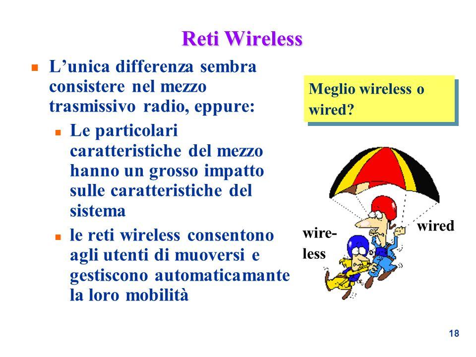 18 Reti Wireless n Lunica differenza sembra consistere nel mezzo trasmissivo radio, eppure: n Le particolari caratteristiche del mezzo hanno un grosso
