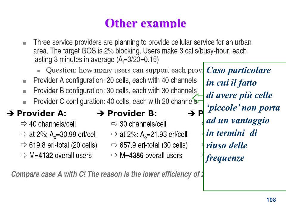 198 Other example Caso particolare in cui il fatto di avere più celle piccole non porta ad un vantaggio in termini di riuso delle frequenze