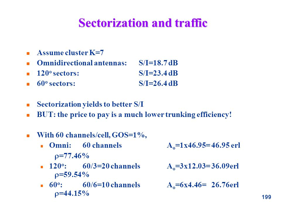 199 Sectorization and traffic n Assume cluster K=7 n Omnidirectional antennas: S/I=18.7 dB n 120 o sectors:S/I=23.4 dB n 60 o sectors:S/I=26.4 dB n Se