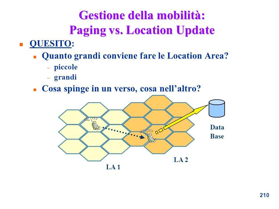 210 Gestione della mobilità: Paging vs. Location Update n QUESITO: n Quanto grandi conviene fare le Location Area? – piccole – grandi n Cosa spinge in