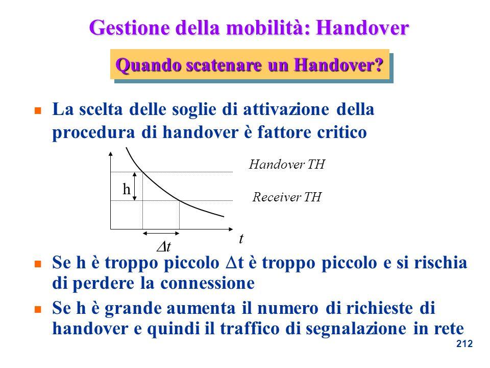 212 Gestione della mobilità: Handover n La scelta delle soglie di attivazione della procedura di handover è fattore critico n Se h è troppo piccolo t