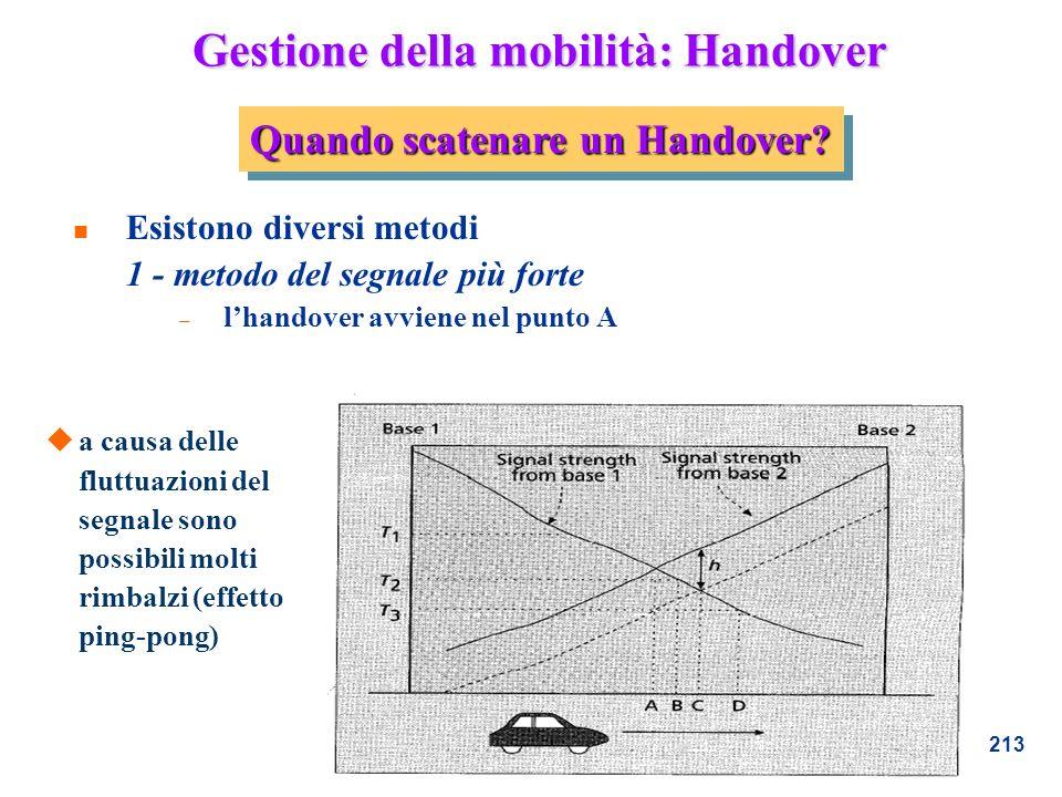 213 Gestione della mobilità: Handover n Esistono diversi metodi 1 - metodo del segnale più forte – lhandover avviene nel punto A Quando scatenare un H