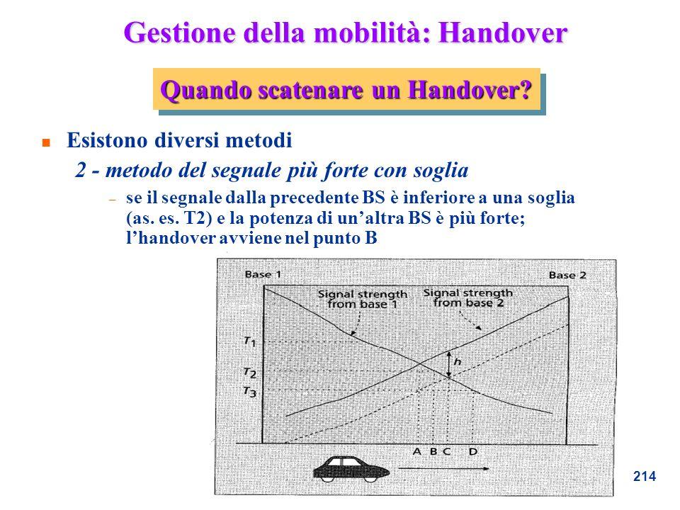 214 Gestione della mobilità: Handover n Esistono diversi metodi 2 - metodo del segnale più forte con soglia – se il segnale dalla precedente BS è infe