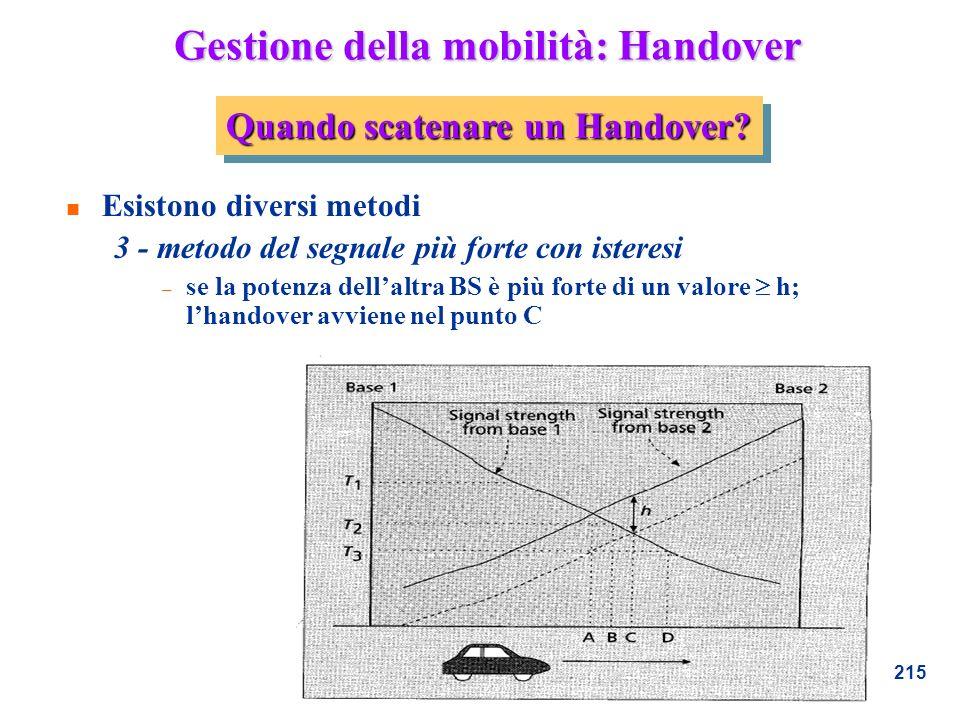 215 Gestione della mobilità: Handover n Esistono diversi metodi 3 - metodo del segnale più forte con isteresi – se la potenza dellaltra BS è più forte