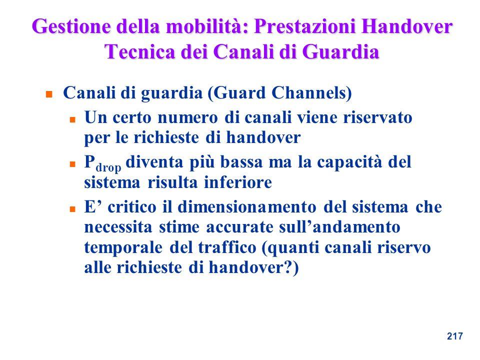 217 Gestione della mobilità: Prestazioni Handover Tecnica dei Canali di Guardia n Canali di guardia (Guard Channels) n Un certo numero di canali viene