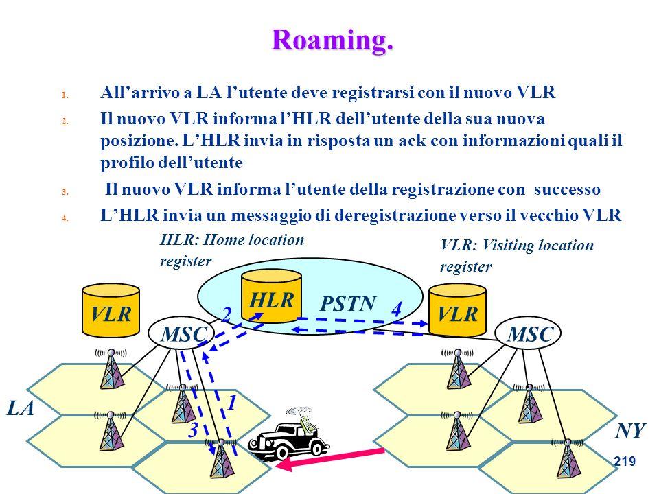 219 Roaming. 1. Allarrivo a LA lutente deve registrarsi con il nuovo VLR 2. Il nuovo VLR informa lHLR dellutente della sua nuova posizione. LHLR invia