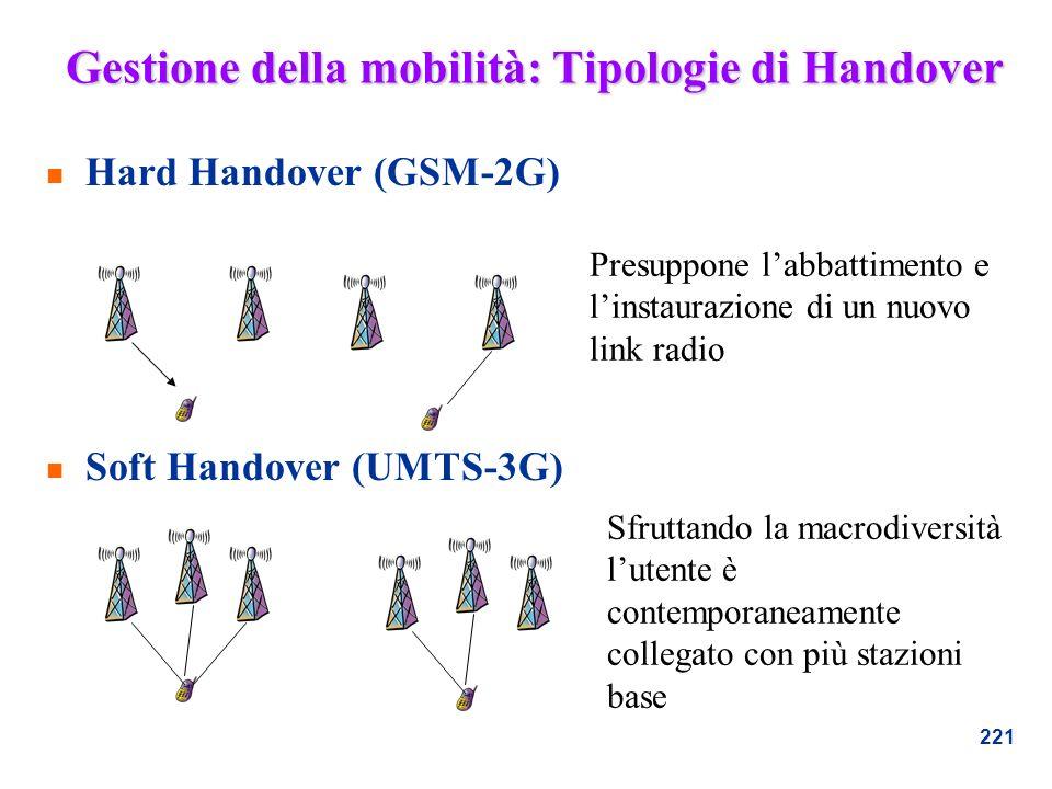 221 Gestione della mobilità: Tipologie di Handover n Hard Handover (GSM-2G) n Soft Handover (UMTS-3G) Presuppone labbattimento e linstaurazione di un