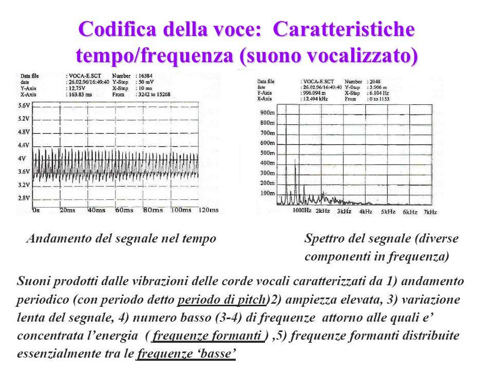 224 Codifica della voce: Caratteristiche tempo/frequenza (suono vocalizzato) suono vocalizzato: vocale e