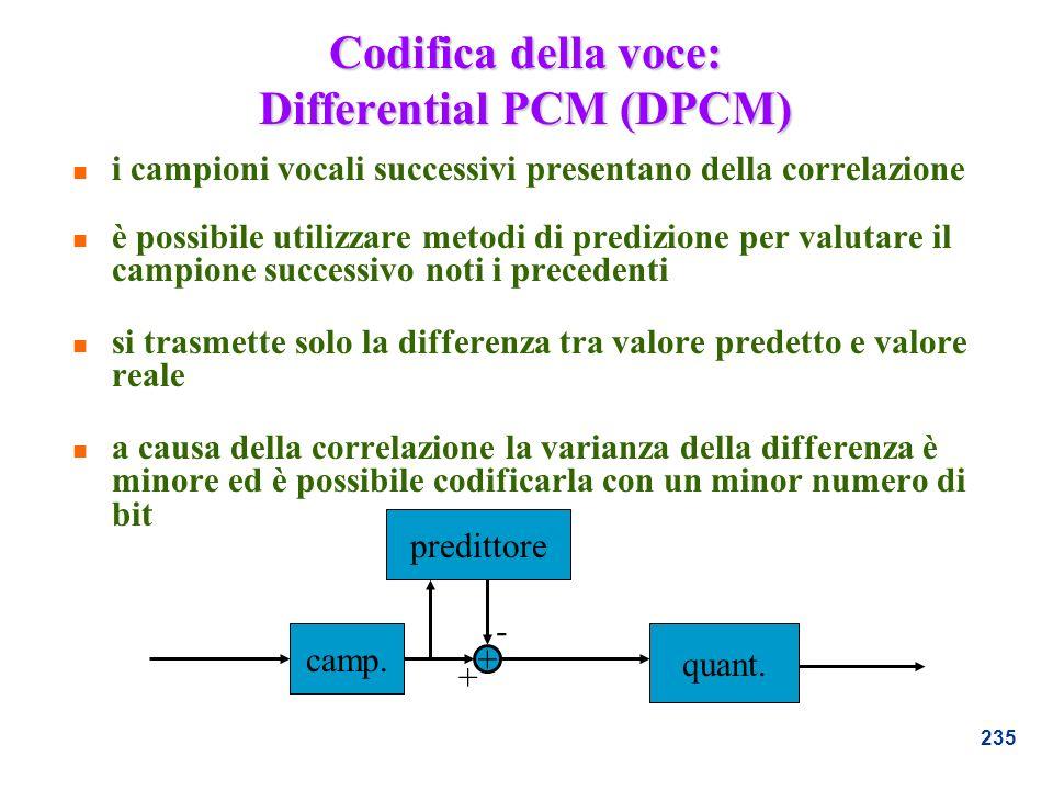 235 Codifica della voce: Differential PCM (DPCM) n i campioni vocali successivi presentano della correlazione n è possibile utilizzare metodi di predi