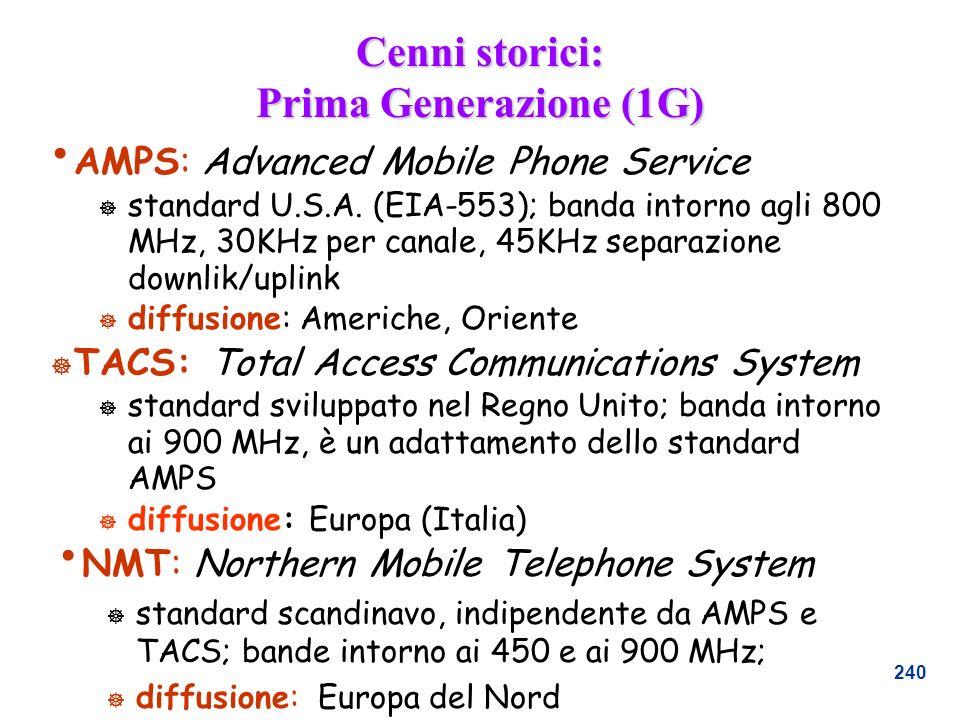 240 Cenni storici: Prima Generazione (1G) AMPS: Advanced Mobile Phone Service ] standard U.S.A. (EIA-553); banda intorno agli 800 MHz, 30KHz per canal
