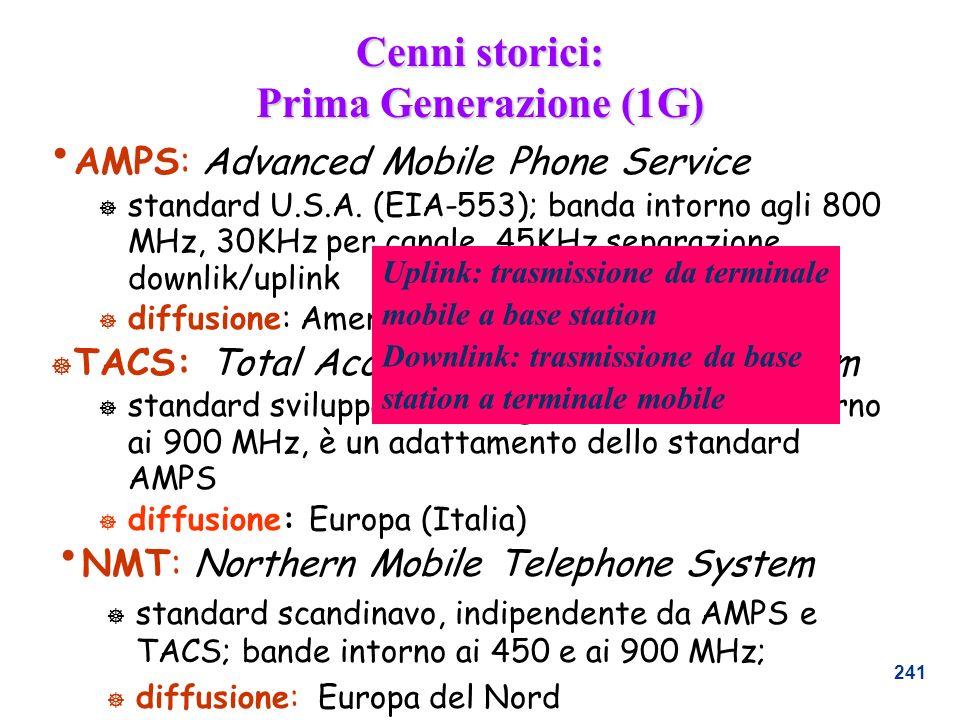 241 Cenni storici: Prima Generazione (1G) AMPS: Advanced Mobile Phone Service ] standard U.S.A. (EIA-553); banda intorno agli 800 MHz, 30KHz per canal