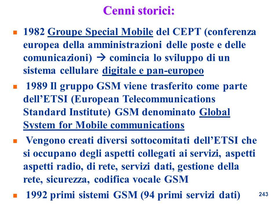 243 Cenni storici: n 1982 Groupe Special Mobile del CEPT (conferenza europea della amministrazioni delle poste e delle comunicazioni) comincia lo svil