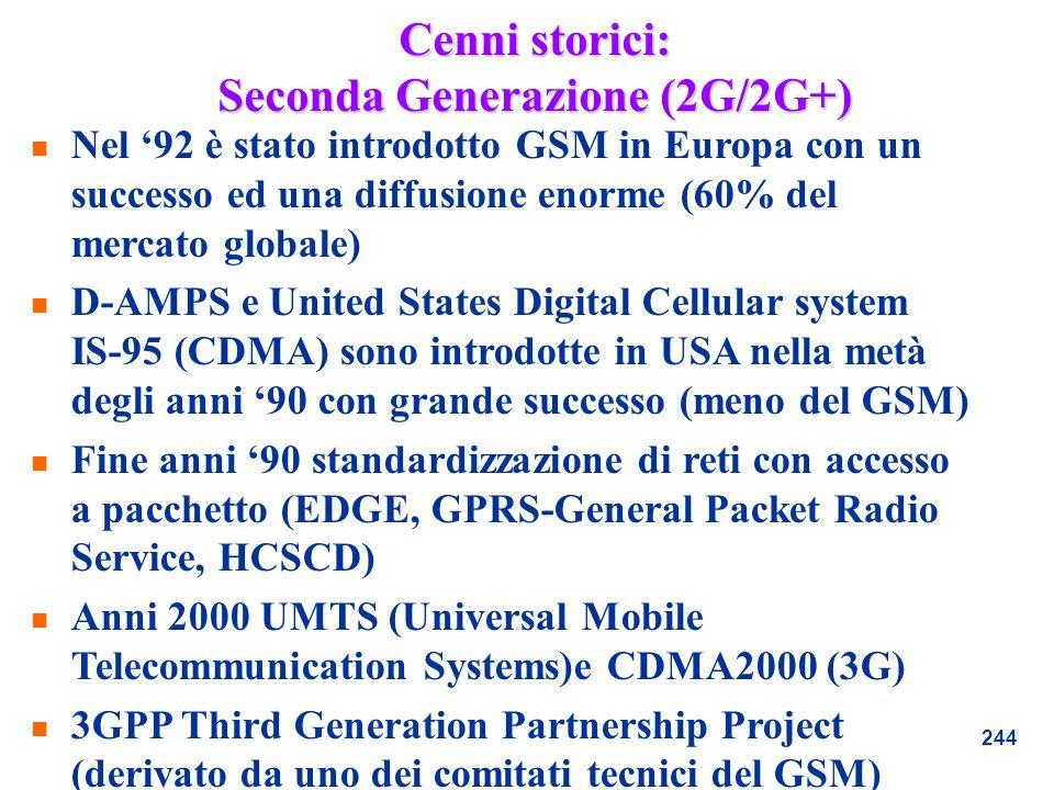 244 Cenni storici: Seconda Generazione (2G/2G+) n Nel 92 è stato introdotto GSM in Europa con un successo ed una diffusione enorme (60% del mercato gl