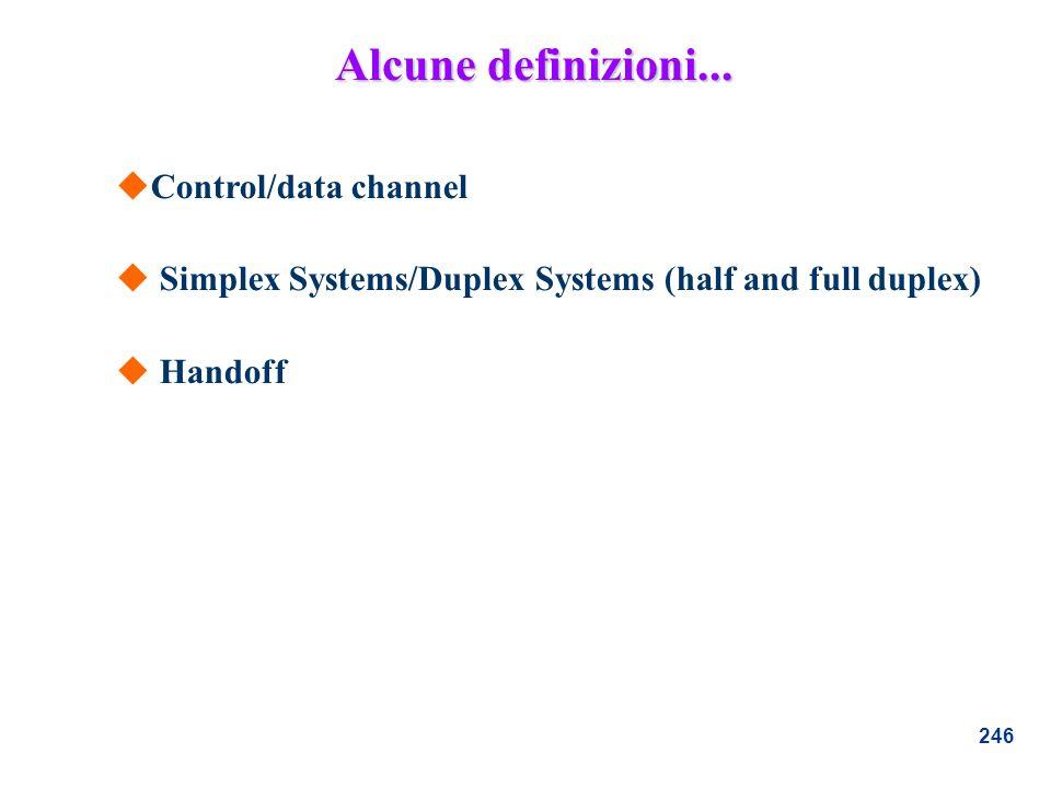 246 uControl/data channel u Simplex Systems/Duplex Systems (half and full duplex) u Handoff Alcune definizioni...