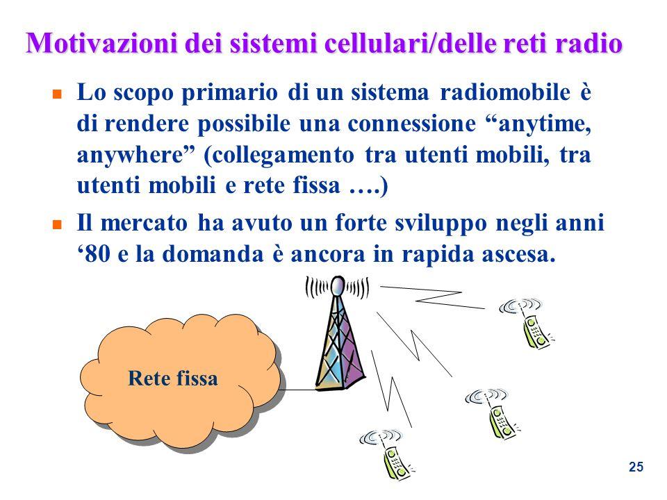 25 Motivazioni dei sistemi cellulari/delle reti radio n Lo scopo primario di un sistema radiomobile è di rendere possibile una connessione anytime, an