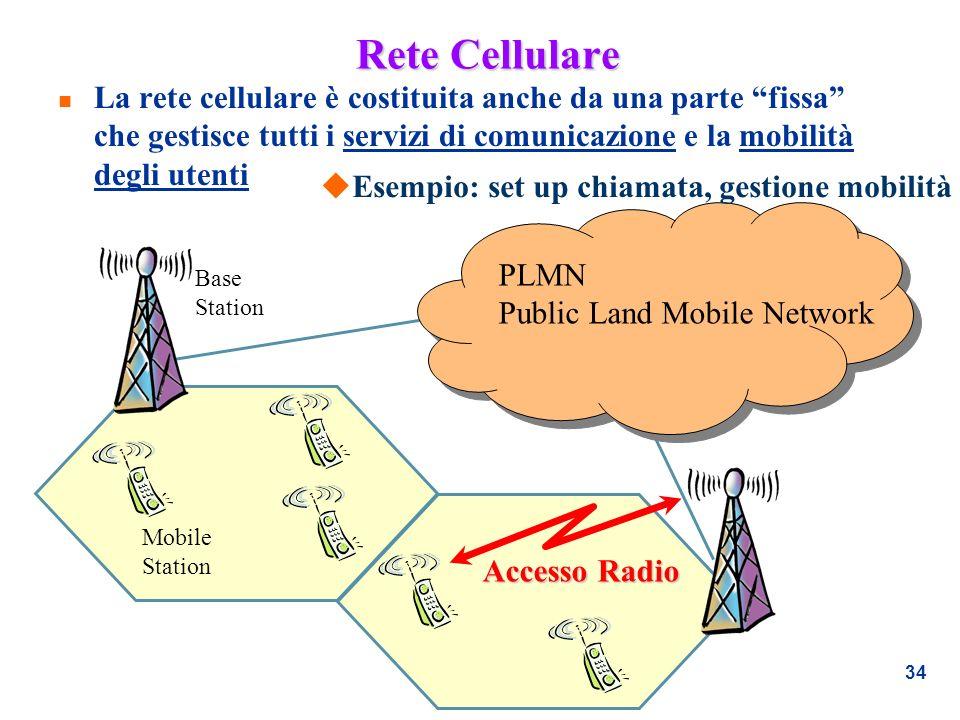 34 Rete Cellulare n La rete cellulare è costituita anche da una parte fissa che gestisce tutti i servizi di comunicazione e la mobilità degli utenti B