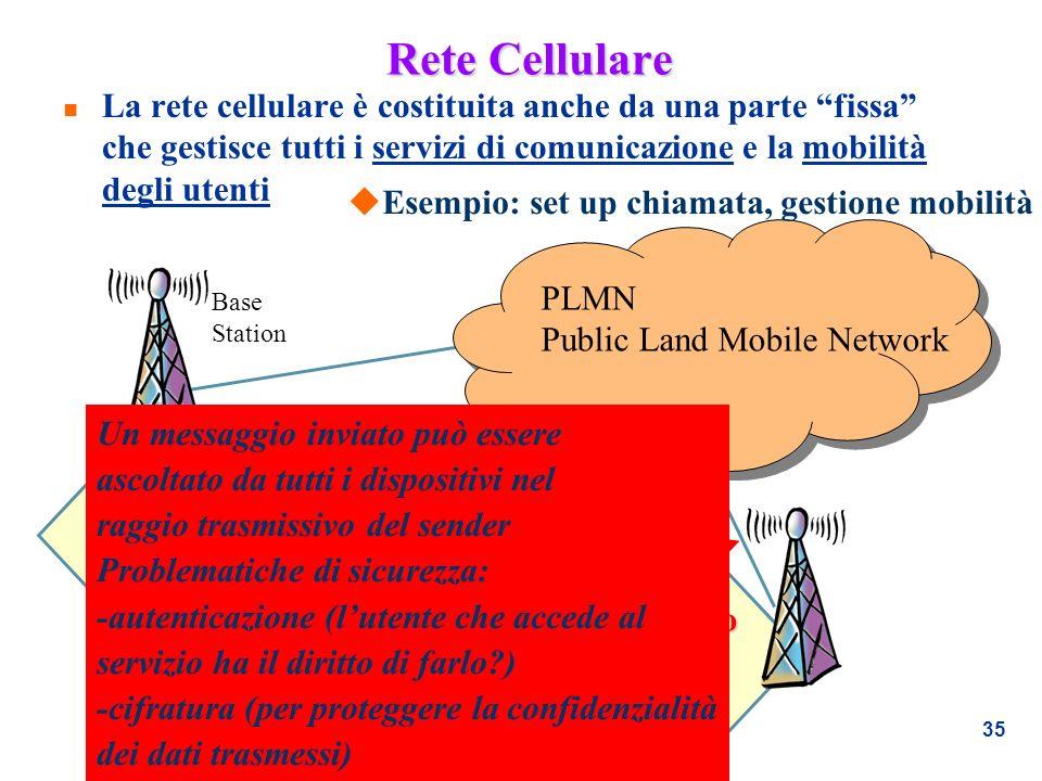 35 Rete Cellulare n La rete cellulare è costituita anche da una parte fissa che gestisce tutti i servizi di comunicazione e la mobilità degli utenti B