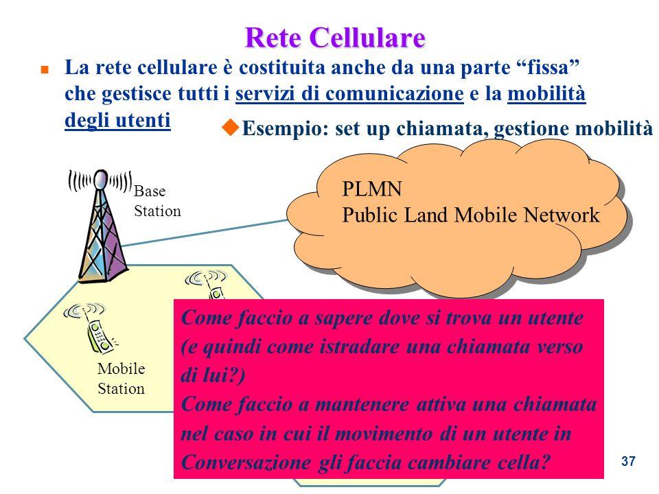 37 Rete Cellulare n La rete cellulare è costituita anche da una parte fissa che gestisce tutti i servizi di comunicazione e la mobilità degli utenti B