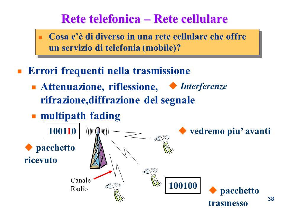 38 Rete telefonica – Rete cellulare n Cosa cè di diverso in una rete cellulare che offre un servizio di telefonia (mobile)? n Errori frequenti nella t