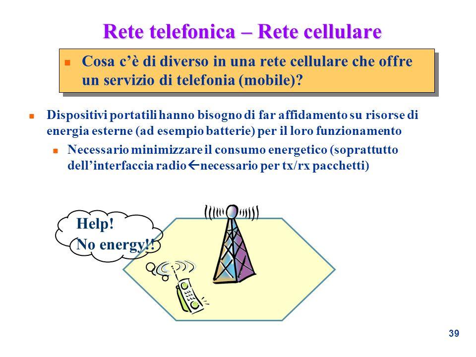 39 Rete telefonica – Rete cellulare n Cosa cè di diverso in una rete cellulare che offre un servizio di telefonia (mobile)? n Dispositivi portatili ha