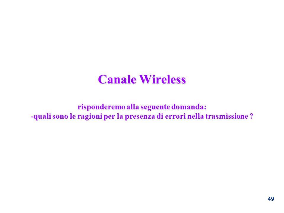 49 Canale Wireless risponderemo alla seguente domanda: -quali sono le ragioni per la presenza di errori nella trasmissione ?