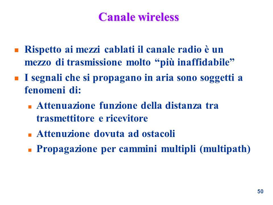 50 Canale wireless n Rispetto ai mezzi cablati il canale radio è un mezzo di trasmissione molto più inaffidabile n I segnali che si propagano in aria
