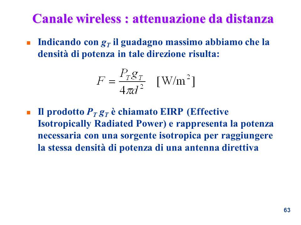 63 Canale wireless : attenuazione da distanza n Indicando con g T il guadagno massimo abbiamo che la densità di potenza in tale direzione risulta: n I