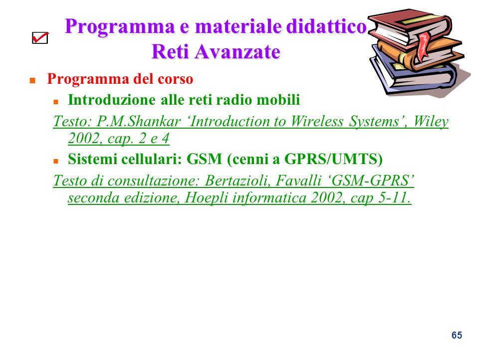 65 Programma e materiale didattico Reti Avanzate n Programma del corso n Introduzione alle reti radio mobili Testo: P.M.Shankar Introduction to Wirele