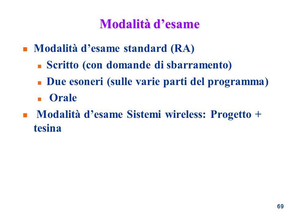 69 Modalità desame n Modalità desame standard (RA) n Scritto (con domande di sbarramento) n Due esoneri (sulle varie parti del programma) n Orale n Mo