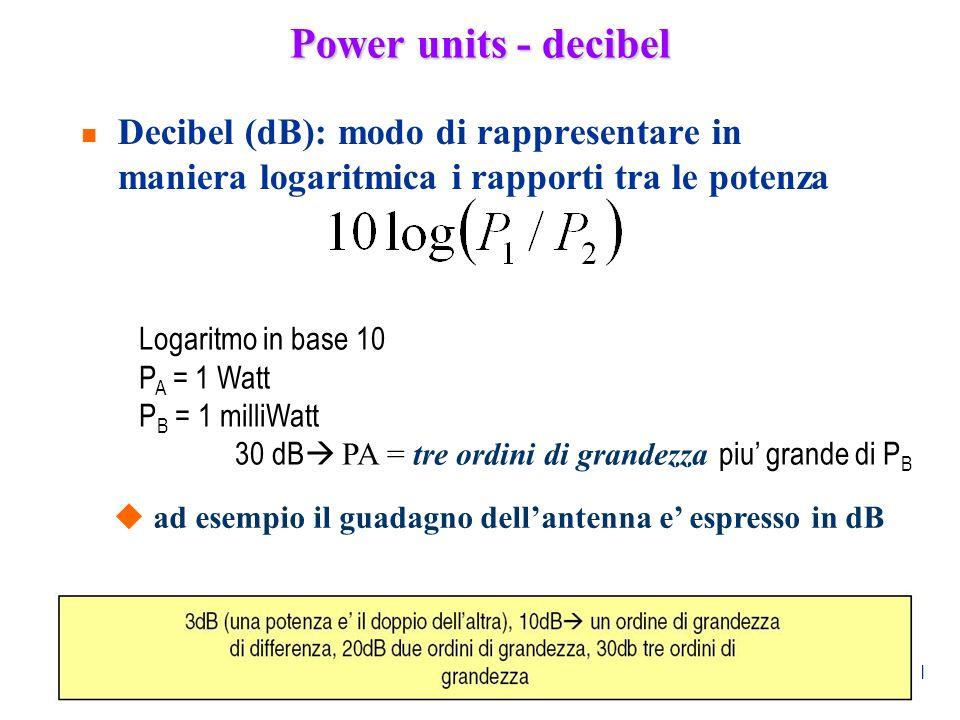 71 Power units - decibel n Decibel (dB): modo di rappresentare in maniera logaritmica i rapporti tra le potenza Logaritmo in base 10 P A = 1 Watt P B