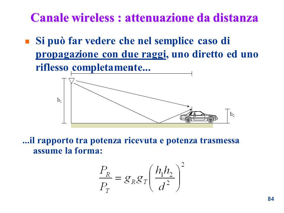 84 Canale wireless : attenuazione da distanza n Si può far vedere che nel semplice caso di propagazione con due raggi, uno diretto ed uno riflesso com