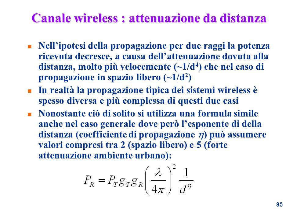 85 Canale wireless : attenuazione da distanza n Nellipotesi della propagazione per due raggi la potenza ricevuta decresce, a causa dellattenuazione do