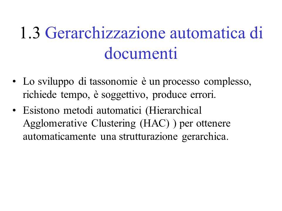 1.3 Gerarchizzazione automatica di documenti Lo sviluppo di tassonomie è un processo complesso, richiede tempo, è soggettivo, produce errori.