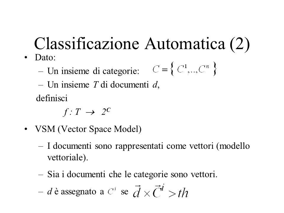 Classificazione Automatica (2) Dato: –Un insieme di categorie: –Un insieme T di documenti d, definisci f : T 2 C VSM (Vector Space Model) –I documenti sono rappresentati come vettori (modello vettoriale).