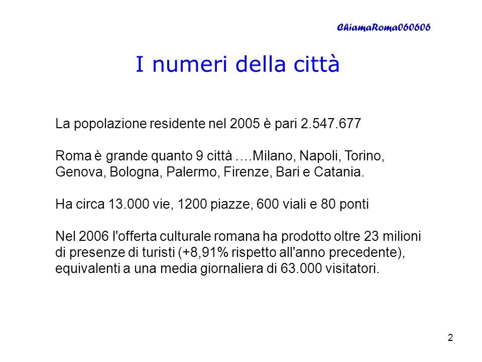 ChiamaRoma060606 3 I numeri dellAmministrazione LAmministrazione comunale ha circa 27.000 dipendenti di cui 6500 vigili urbani.