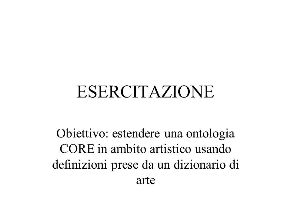 ESERCITAZIONE Obiettivo: estendere una ontologia CORE in ambito artistico usando definizioni prese da un dizionario di arte