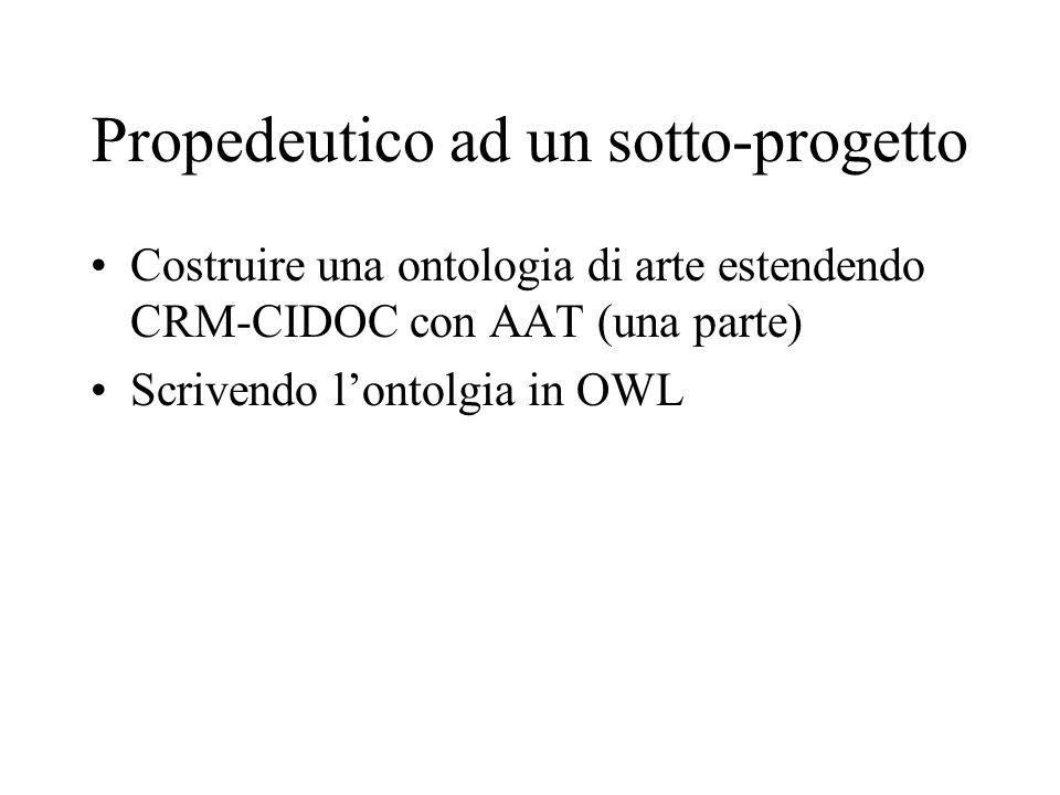 Propedeutico ad un sotto-progetto Costruire una ontologia di arte estendendo CRM-CIDOC con AAT (una parte) Scrivendo lontolgia in OWL