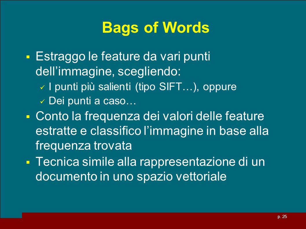 p. 25 Bags of Words Estraggo le feature da vari punti dellimmagine, scegliendo: I punti più salienti (tipo SIFT…), oppure Dei punti a caso… Conto la f