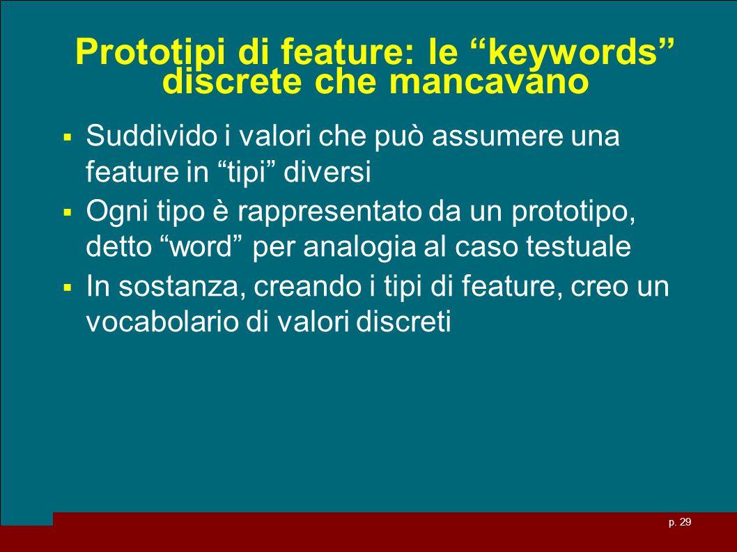 p. 29 Prototipi di feature: le keywords discrete che mancavano Suddivido i valori che può assumere una feature in tipi diversi Ogni tipo è rappresenta
