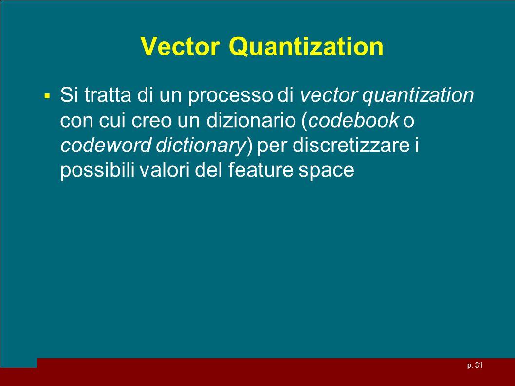 p. 31 Vector Quantization Si tratta di un processo di vector quantization con cui creo un dizionario (codebook o codeword dictionary) per discretizzar